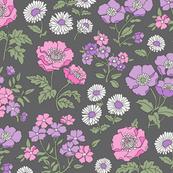 Floral Flowers Vintage Garden Pink Purple Purpel On Dark Grey