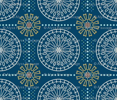 Geometric Floral Mandala in Navy