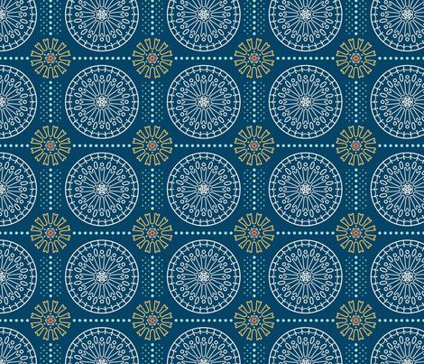 Geometric Floral Mandala in Navy  fabric by passage_hill_studio on Spoonflower - custom fabric