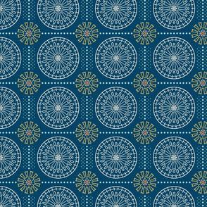 Geometric Floral Mandala in Navy