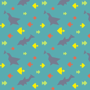 Tangram Sharks and Fishes