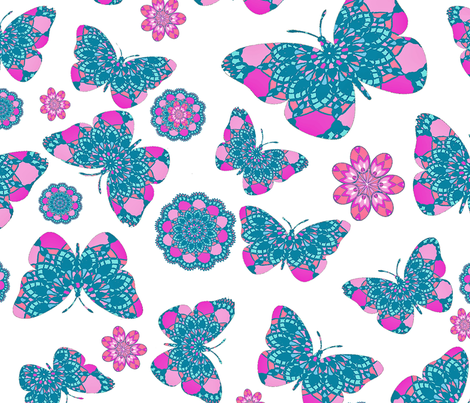 Bohemian Lace Butterfly Garden fabric by magentarosedesigns on Spoonflower - custom fabric