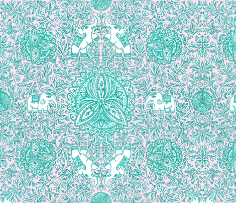 Snowdrop_Saree_teal fabric by hpdesigns on Spoonflower - custom fabric