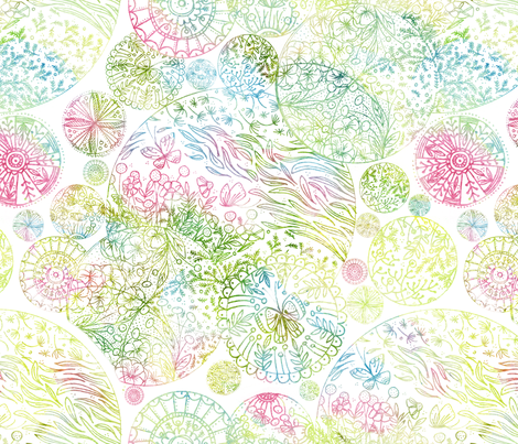 Mandalas in Spring - © Lucinda Wei fabric by lucindawei on Spoonflower - custom fabric