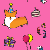 Corgi Birthday Pink BG