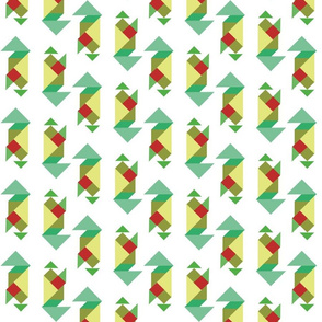 tangram in greens and reds