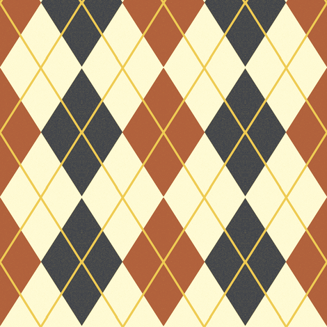 Bayeux Argyle Dark Blue and Terra Cotta fabric by eclectic_house on Spoonflower - custom fabric