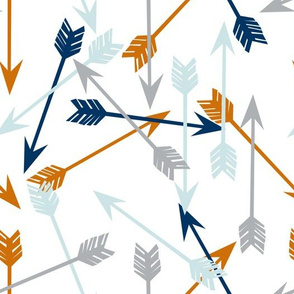 arrows fabric // custom navy baby blue, grey and orange fabric