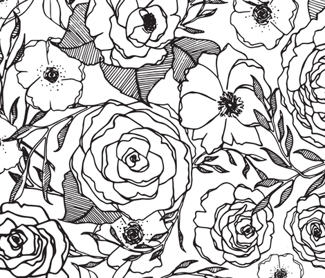 Black and White Flowers fabric by peneloperae on Spoonflower - custom fabric