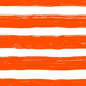 Bristle Stripes - Grapefruit on White