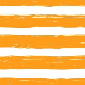Bristle Stripes - Tangerine on White