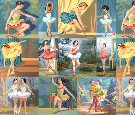 Paint By Number Ballerinas - large fabric by rawbonestudio on Spoonflower - custom fabric