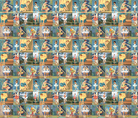 Paint By Number Ballerinas - small fabric by rawbonestudio on Spoonflower - custom fabric