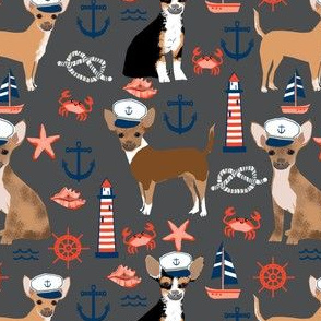 chihuahua dog fabric nautical summer dogs design - charcoal