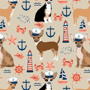 chihuahua dog fabric nautical summer dogs design - sand