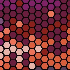 Falling Hexagons in black