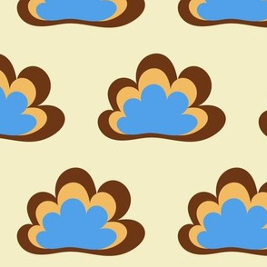 Happy Clouds on Eggshell
