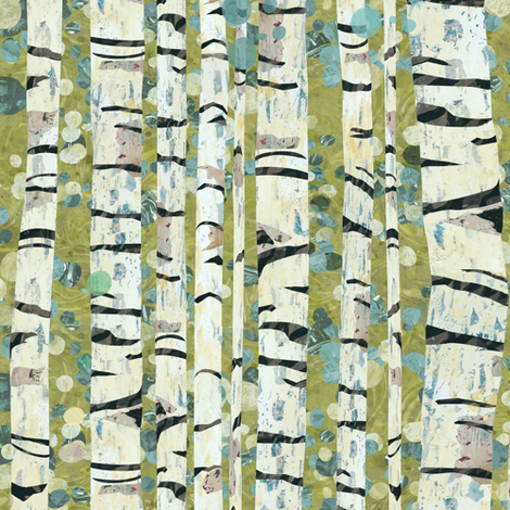 Birch Trees Green fabric by sarah_treu on Spoonflower - custom fabric