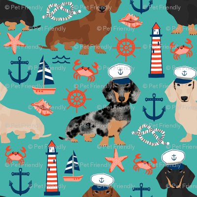 dachshund dog fabric nautical summer dog design - turquoise