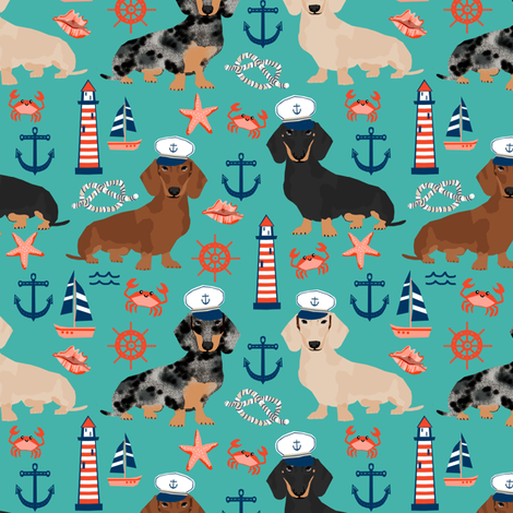 dachshund dog fabric nautical summer dog design - turquoise fabric by petfriendly on Spoonflower - custom fabric