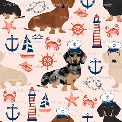 dachshund dog fabric nautical summer dog design - light pink
