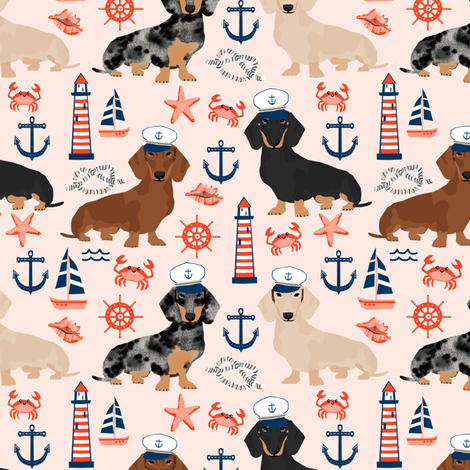 dachshund dog fabric nautical summer dog design - light pink fabric by petfriendly on Spoonflower - custom fabric