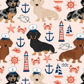 dachshund dog fabric nautical summer dog design - light pink