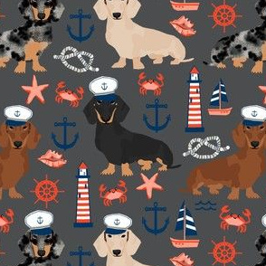 dachshund dog fabric nautical summer dog design - charcoal