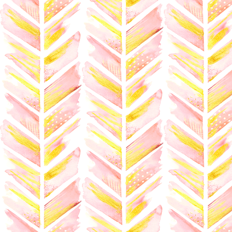 Watercolor Feather Chevron in Blush Pink Smaller fabric by emilysanford on Spoonflower - custom fabric