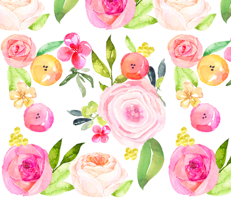 Spring Peonies, Roses, and Poppies // Extra Large fabric by theartwerks on Spoonflower - custom fabric