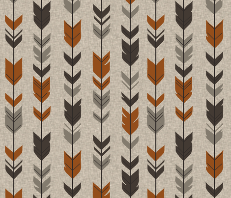 Arrow Feathers - Redstone Canyon - Rust, brown, taupe/grey on Tan linen fabric by sugarpinedesign on Spoonflower - custom fabric