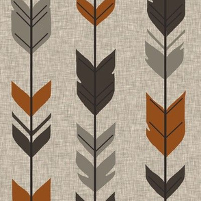 Arrow Feathers - Redstone Canyon - Rust, brown, taupe/grey on Tan linen
