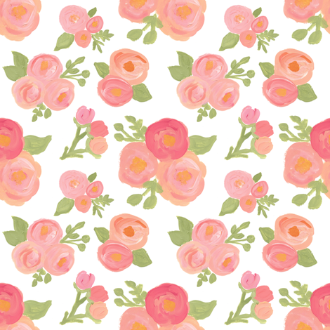Sweetest Pink Florals  fabric by smallhoursshop on Spoonflower - custom fabric
