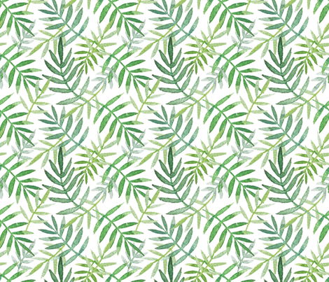 PalmLeaves-green fabric by louandmoss on Spoonflower - custom fabric