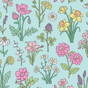 Wildflowers Botanical Vintage Flowers Floral Doodle