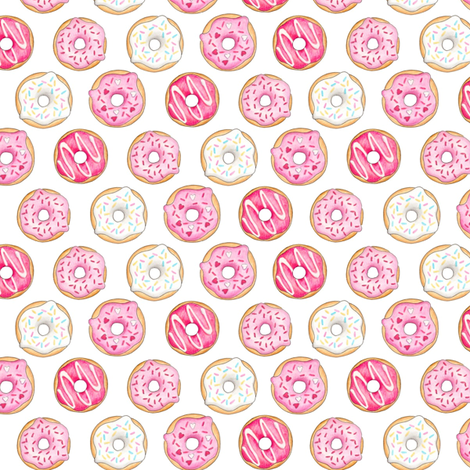 Iced Donuts - Pink 1 inch donuts fabric by hazelfishercreations on Spoonflower - custom fabric