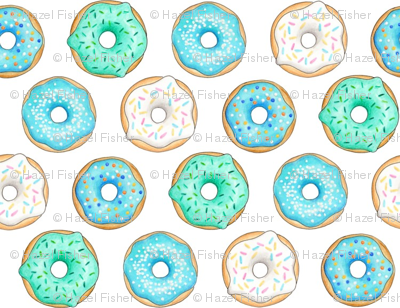 Iced Donuts - Blue 1 inch donuts