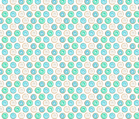 Iced Donuts - Blue 1 inch donuts fabric by hazel_fisher_creations on Spoonflower - custom fabric
