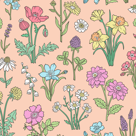 Wildflowers Botanical Vintage Flowers Floral Doodle on Pale Peach fabric by caja_design on Spoonflower - custom fabric