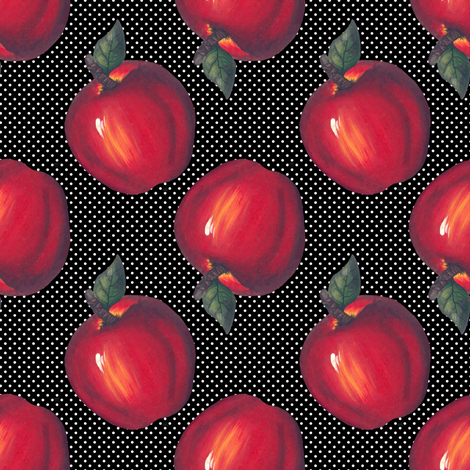 Red Apples White on Black Dots fabric by linda_baysinger_peck on Spoonflower - custom fabric