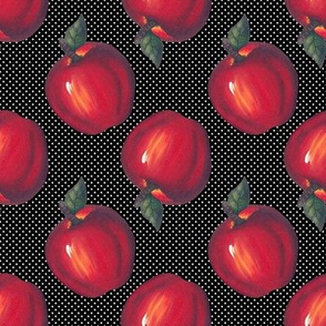 Red Apples White on Black Dots