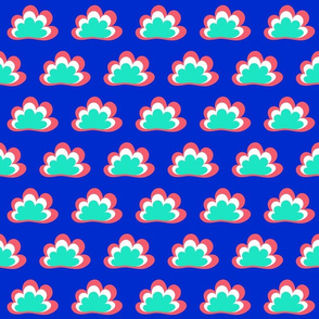 Happy Clouds on Navy with Peony and Mint