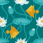 Tangram goldfish and water lillies