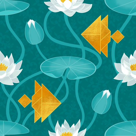 Tangram goldfish and water lillies  fabric by elena_naylor on Spoonflower - custom fabric