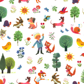 Alain Gree - Animals, trees, flowers, boys in fun forest - French vintage