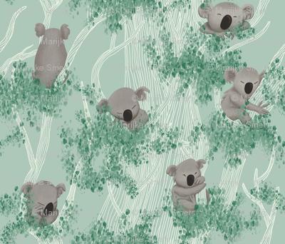 Sleeping Koala Bears on a Eucalyptus Trees and Mint Background