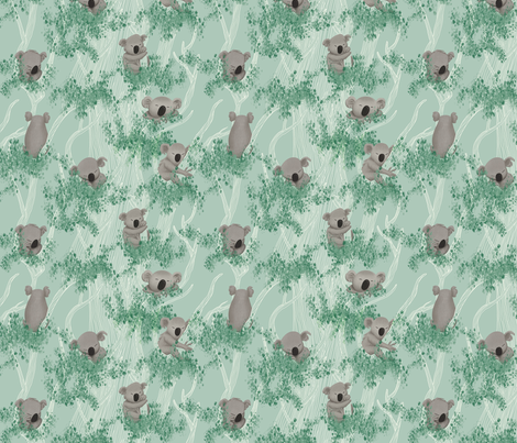Sleeping Koala Bears on a Eucalyptus Trees and Mint Background fabric by pinmintprint on Spoonflower - custom fabric