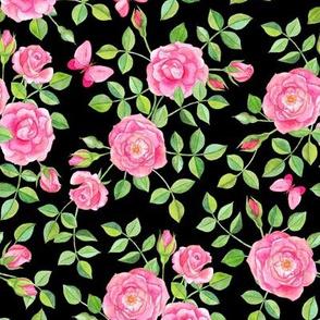 Pink Watercolor Roses & Butterflies on Black large version