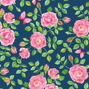 Pink Watercolor Roses & Butterflies on Dark Blue large version