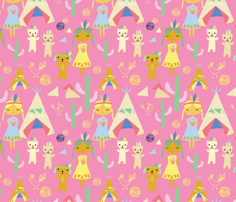 Indian Summer, pink fabric by michellegracedesign on Spoonflower - custom fabric